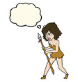 cartoon cave girl with thought bubble vector image