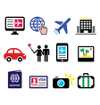 Travel and tourism booking holidays icons set vector image vector image