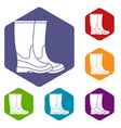 boots icons set vector image