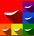 chilli pepper sign set of icons with flat vector image