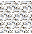 doodle cats seamless pattern hand drawn cartoon vector image