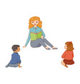 flat cartoon children sitting around woman vector image