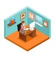 Freelancer at work Isometric 3d freelance woman vector image