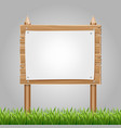 wooden information blank with green grass vector image
