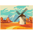 windmill in autumn old poster vector image