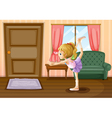 A ballet dancer inside her house vector image
