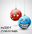Funny Christmas baubles with faces vector image
