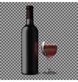 Transparent blank black realistic bottle for red vector image