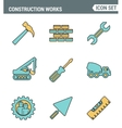 Icons line set premium quality of construction vector image