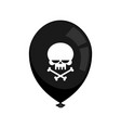 Black balloon mourning isolated skull and vector image
