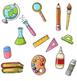 cute sketchy doodle back to school icons vector image
