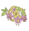 Hand drawn color doodle flowers leafs and ribbon vector image
