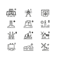 Power generations line icons Different elements vector image
