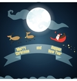 Santa Claus flies through the sky on the moon vector image