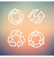 Set of recycle arrow thin line icon vector image