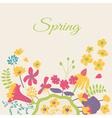 Spring floral cartoon card vector image