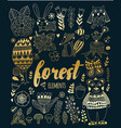 forest elements in doodle childish style vector image