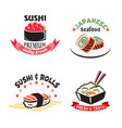 icons set for sushi or seafood restaurant vector image