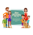 family banner happy people parents and children vector image
