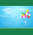 Colorful balloons flying over grass paper art and vector image