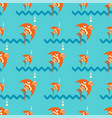bright orange fish on a blue background with vector image