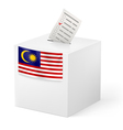 Ballot box with voting paper Malaysia vector image