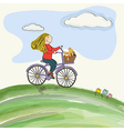 young girl cycling in the meadow vector image