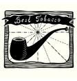 tobacco pipe label vector image