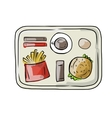 Tray with fast food sketch for your design vector image vector image