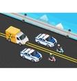 Police Motorcade Car Important Toxic Load vector image