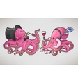 Two cartoon octopuses in retro costumes vector image