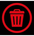 Trash Can flat red color rounded icon vector image