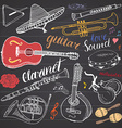 Music Instruments Set Hand Drawn Sketch On vector image