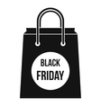 Black Friday shopping bag icon simple style vector image