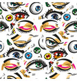pop art seamless pattern with eyes vector image