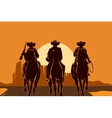 Cowboys riding horses in desert vector image vector image