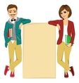 students leaning against a blank board vector image