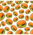 Seamless fast food pattern with burgers vector image vector image