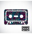 Decorative colorful cassette tape symbol filled vector image