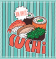 food poster with sushi vector image
