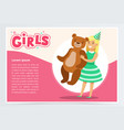 happy girl holding big teddy bear cute kid vector image