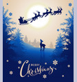 merry christmas card design text young deer looks vector image