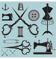 set of items and equipment to topics tailor clothi vector image