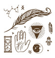 trendy esoteric symbols sketch hand drawn vector image