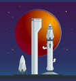 flat rocket and spaceship concept vector image