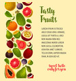 poster of exotic and fresh tropical fruits vector image
