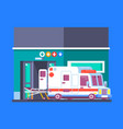 hospital building with ambulance urban background vector image vector image