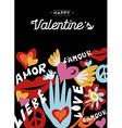 Happy Valentines day retro design with decoration vector image vector image