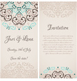 baroque damask wedding invitation banners with a vector image