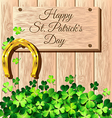 St Patricks Day frame with gold horseshoe on vector image
